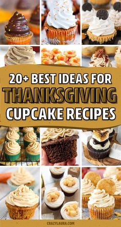 Thanksgiving Cupcakes, Thanksgiving Recipes, Fall Recipes, Sweet Recipes, Holiday Recipes, Thanksgiving Countdown, Mini Desserts, Desserts To Make, Holiday Desserts