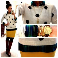 Love this polka dot sweater with yellow skirt & black tights/boots! Great outfit for fall & spring! Cute Winter Outfits, Casual Outfits, Cute Outfits, Fashion Outfits, Work Outfits, Church Outfits, Casual Clothes, Winter Clothes, School Outfits