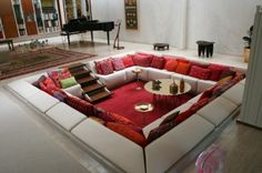 conversation pit dreaming! Interior Architecture, Interior And Exterior, Interior Design, Sunken Living Room, Miller Homes, Mid Century Living Room, Home Office Space, Living Spaces, Living Rooms
