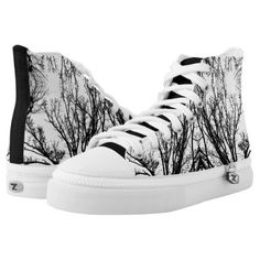 #black - #Black/White Abstract #4 High-Top Sneakers