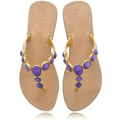 MYSTIQUE Purple Jeweled Sandals (9.305 RUB) ❤ liked on Polyvore featuring shoes, sandals, scarpe, flats, обувь, purple flats, strap sandals, jewel sandals, leather sole sandals and leather sandals