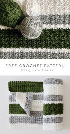 Free Pattern Beginner Crochet Striped Blanket in Red Heart Soft yarn by Daisy Farm Crafts. Striped Crochet Blanket, Knit Or Crochet, Crochet Crafts, Crochet Hooks, Free Crochet, Crochet Daisy, Easy Crochet Blanket, Crochet Angels, Crochet Ornaments