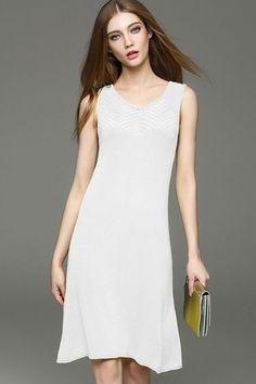 Pattern Sleeveless Scoop Neck knit maxi dress -KnitFans