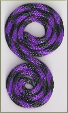 """5/16"""" SOLID Braid MFP Rope - BLACK/PURPLE Spiral - By the FOOT"""