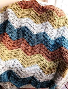 CROCHET handmade baby blanket afghan lap chevron ripple VANNA yarn dark multi #handmade
