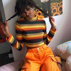 Orange Aesthetic, Black Girl Aesthetic, Aesthetic Fashion, Look Fashion, Aesthetic Clothes, Fashion Outfits, 90s Fashion, Grunge Outfits, Retro Outfits