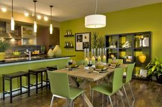 Dining Room Paint Colors Scheme Idea For Your Dining Room Creation :  Astounding Modern Minimalist Dining Area With Green Paints Color Scheme.