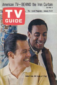 """A Young Bill Cosby with Robert Culp 1966 TV Guide Stars of """" I Spy """"."""