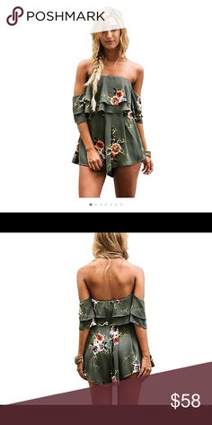 🆕Floral Print Army Green Strapless Romper Size: S/M/L/XL/XXL; Color: Army Green The dress is a cute easy to wear style for summer. Featuring a light crepe fabric,off the shoulder sleeve,layered details and flowy shorts shape. Pants Jumpsuits & Rompers