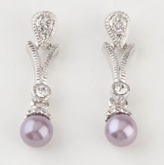 White Crystal Purple Pearl Dangling Post Earrings