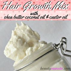 Hair Growth Recipe: Shea Butter Coconut Oil Castor Oil Mix - beautymunsta - free natural beauty hacks and more! - You gotta try out this shea butter coocnut oil castor oil mix for luscious hair growth! How does shea butter help hair growth…read below! Hair Growth Treatment, Hair Growth Oil, Hair Treatments, Hair Growth Shampoo, Castor Oil For Hair, Hair Oil, 4c Hair, Curly Hair, Natural Beauty Tips