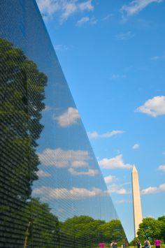 Washington DC,Vietnam Memorial with Washington Monument