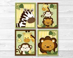 GIRL Jungle Wall Art CANVAS or Prints Safari Theme Zoo