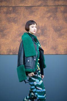 Color in different fabrications. street style - In Kenzo - HarpersBAZAAR.com