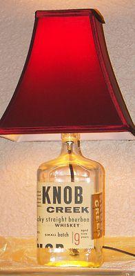 i would change to burlap shade - KNOB Creek Kentucky Bourbon Whiskey Liquor Wine Empty Bottle Lamp Light Cave Bar
