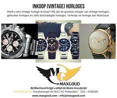 Heeft u een (vintage) horloge die u graag wilt verkopen? Bijvoorbeeld een Rolex of Breitling. Deze kunt u verkopen aan MaxGoud.   ▪️▪️ #maxgoud #watches #horloge #vintage #nieuw #kapot #rotterdam #rotterdamcentrum #goudsesingel #nieuwebinnenweg #goud #zilver #inkoop #verkoop #besteprijs #bekendvanVaraKassa #sieraden #juwelen