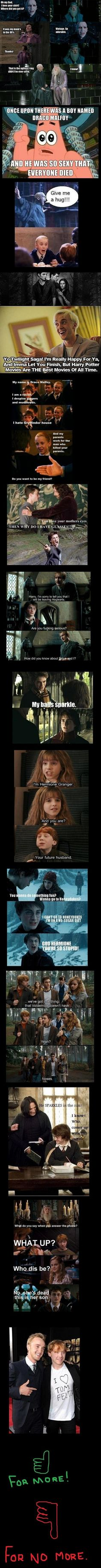 Harry Potter funnies featuring Mean Girls, Twilight, and Glee. Oh my GOSH! XD