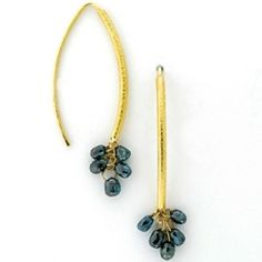 BARBARA HEINRICH Earrings 18K Yellow Gold Navette Wires With 10 Blue Diamond Briolette Drops, 2.36 cttw