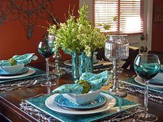 Beautiful Aqua and Green Tablescape