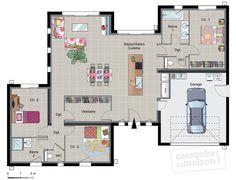 Découvrez les plans de cette maison contemporaine de plain-pied sur www.construiresamaison.com >>>