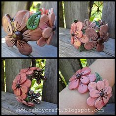 Floral bracelet made from Polymer clay