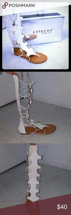 Womens white tall gladiator size 7 Womens white tall gladiator size 7 Extreme by Eddie Marc  Shoes Sandals