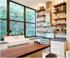 reclaimed wood shelving with black brackets    Inspirational images and photos of Kitchens : Remodelista