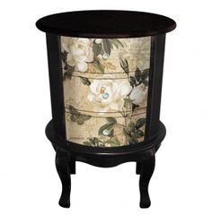 Antique Bedside Tables You can't deny the nightstand's great looking with its dark-brown fir wood charming, covered with elegant floral garden landscape, four turned legs and a round desktop. Kingdeful Arts & Crafts Co. Antique Bedside Tables, Vintage Furniture, Nightstand, Arts And Crafts, Antiques, Wood, Dark Brown, Desktop, Legs