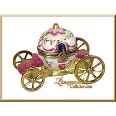 Cinderella Magic Coach Limoges Box by Beauchamp Limoges Princess Carriage, Cinderella Carriage, Pretty Box, Pretty In Pink, Cinderella Coach, Jewelry Dresser, Antique Glassware, Terracota, Glass Boxes
