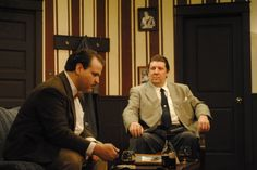 """Ben Smith, left, and David Detlefs perform during a technical rehearsal of Ames Community Theater's """"Dial M for Murder."""" The murder drama will open on Friday at 120 Abraham Drive. Photo by Julie Ferrell/Ames Tribune"""