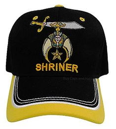 7a3da43e7a4 Shriner Hat Black and Gold Baseball Cap with Logo Associated with Freemasons  Shriners Prince Hall Masons Lodge Headwear