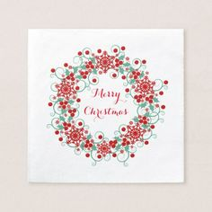 Merry Christmas Green and Red Wreath Paper Napkin