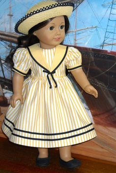 Yellow Stripe Middy Dress and Hat for 18 inch dolls