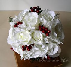 Christmas Winter White Premium Silk Rose and Red Holly Berry, Wedding Bouquet & Boutonniere via Etsy