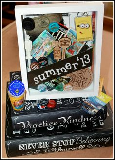 great shadow box idea, instead of a scrapbook - also the books are cool!