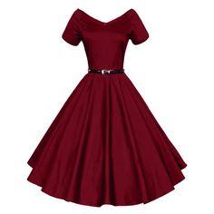 50's Vintage V-neck Swing Dress (Plus Sizes/Red/Blue/Black/Dark Red/Dark Blue)