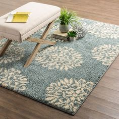 """Charlton Home Cowden Exploded Medallions Woven Slate Blue/Cream Area Rug Rug Size: 3'4"""" x 5'6"""""""