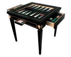 ALEXANDRA LLEWELLYN DESIGN  BESPOKE GAMES TABLE - Created from wood to replicate the sound and feel of the original Middle Eastern games, Llewellyn's Backgammon boards and games tables are pieces of art, exuding a tangible old world charm.