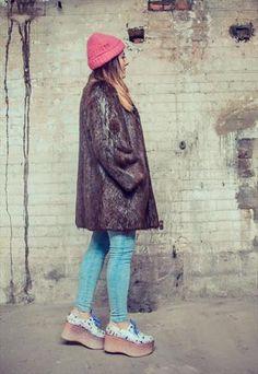 Vintage 70's Faux Fur Jacket in Brown