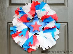 fourth of july wreath made from dollar store picnic supplies