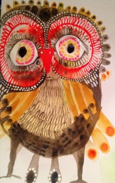 owl by Jessica Breakwell Art And Illustration, Bird Artwork, Insect Art, Naive Art, Owl Art, Watercolor And Ink, Art Lessons, Amazing Art, Art For Kids