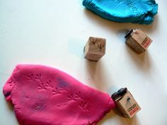 Stamping is a great activity for proprioceptive training -- and using play-doh instead of ink ensures that there's no mess! Idea from Having Fun At Home re-pinned by SPD Blogger Network. For mroe sensory-related pins, see http://pinterest.com/spdbn