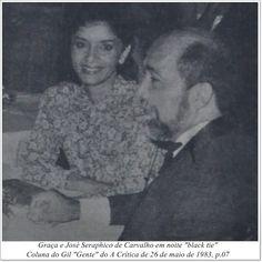 """Graça e José Seraphico de Carvalho. Coluna do Gil """"Gente"""" do A Crítica de 26 de maio de 1983."""