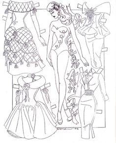 Бумажная одежда для кукол раскраска