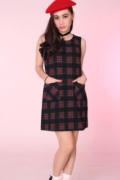 67f173c5fad Clueless Inspired Black Tartan Pocket Shift Dress