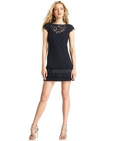Jessica Simpson Dress, Cap-Sleeve Lace Pleated Tiered navy cotton/rayon/poly (90.09) NA 1/16