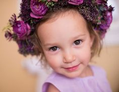 10 of the Sweetest Floral Wreaths for Flower Girls ~ love this purple perfection by Flowers by Semia; Fall Flowers, Wedding Flowers, Mon Cheri Bridal, Sweet Magnolia, Newport Rhode Island, Her Hair, Vibrant, Purple, Photography