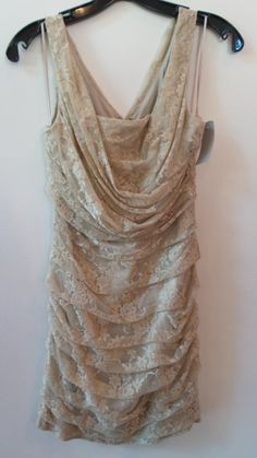 A gorgeous champagne lacy dress in a size 4....at Clothes Attic'd.