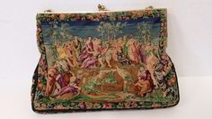 Vintage Petit Point Tapestry Clutch Purse Evening Floral Bag w/ Strap Pre-Owned  #Clutch