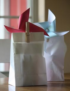 cute gift bag, paper pinwheel glued to clothes pin